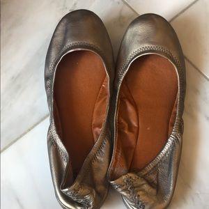 Lucky Brand gunmetal leather ballet flats
